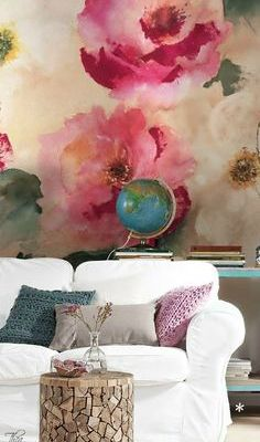 Artistic Wall Decor:  Watercolor Wallpaper