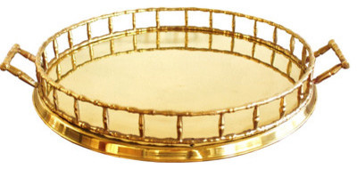 Faux Bamboo Brass Tray
