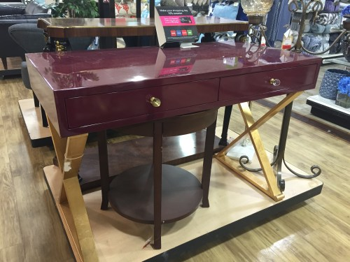 is well represented in homegoods and i spotted it in this sleek desk
