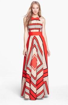 Eliza J Scarf Print Dress--Coral