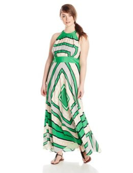 Eliza J Scarf Print Dress--Green
