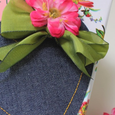 Gift Wrap Inspiration: Flowers and Denim
