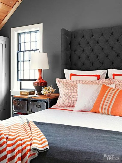 ORANGE AND GREY BEDROOM VIA BHG