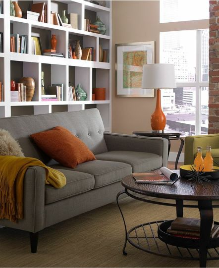 Orange and Grey Living room via Macys