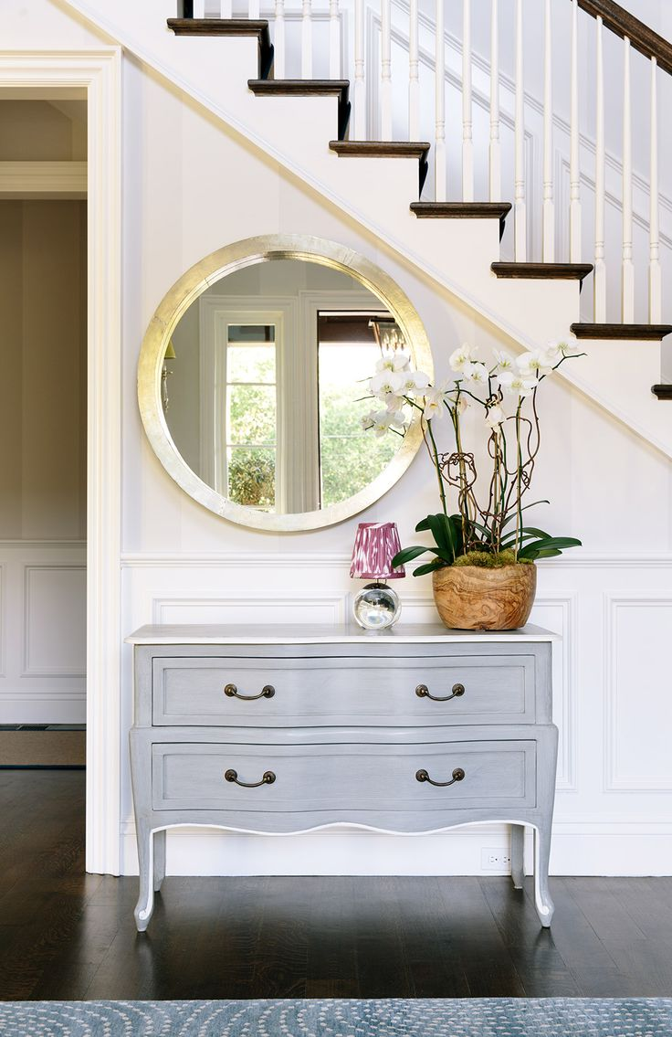Five place where round mirrors are ideal confettistyle round mirror provide a contrast to the straight lines of doorways and stairs and when placed opposite a glass inset door the mirror enhances the amipublicfo Images
