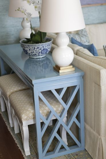 Console table with stools underneath