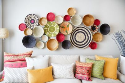 Colorful Baskets on Wall
