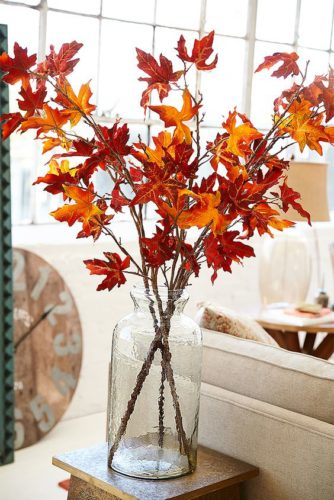 Autumn Decorating Idea Fall Leaf Branches Confettistyle