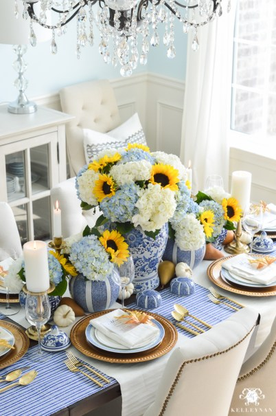 blue-and-white-thanksgiving-table-idea-with-sunflowers-and-hydrangeas-13-of-21