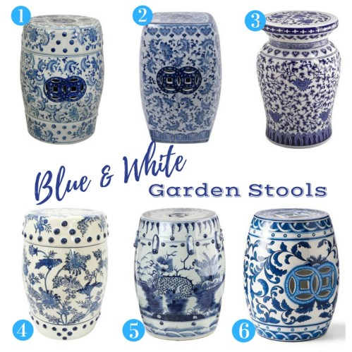 Favorite Blue and White Garden Stools from ConfettiStyle