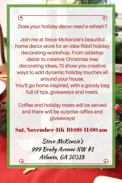 Holiday Workshops with ConfettiStyle Interiors