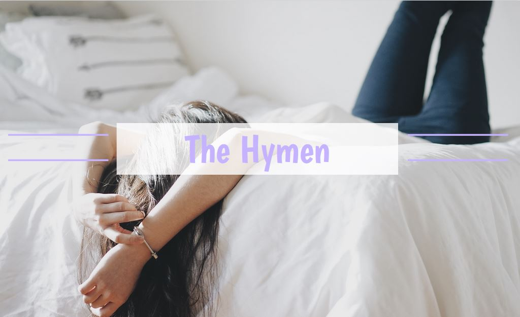 girl lying on bed with title the hymen