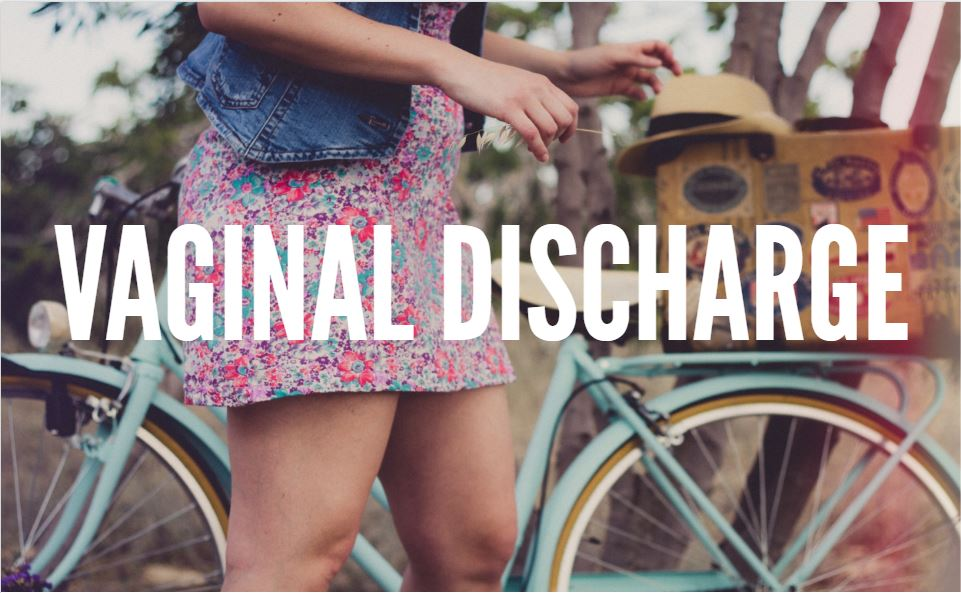 Girl with bike for vaginal discharge title