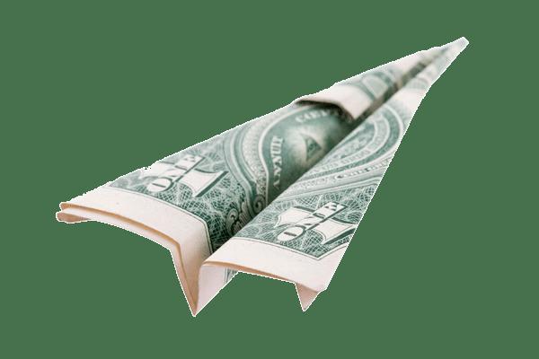 Avião de papel feito em nota de dólar
