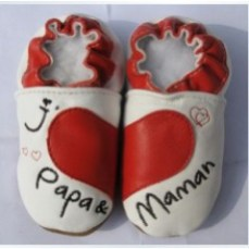 chaussons-cuir-bebe-souple-papa-maman-rouge