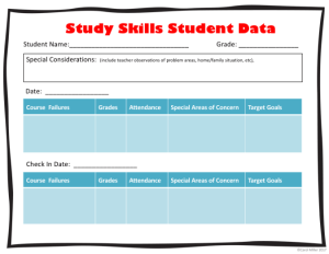 teaching study skills. make sure to collect student data