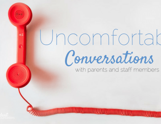 uncomfortable conversations with staff and parents are a part of school counselor's jobs. A few tips to make these awkward, but important conversations easier.