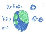 Our family viewing the Earth from space with hugs and kisses (xo) by our six year old son, E Miller.