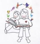 Mom and Son Reading Together illust by Jennifer Miller