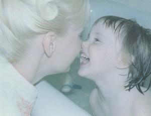 Nose kiss Jenn, Mom pic