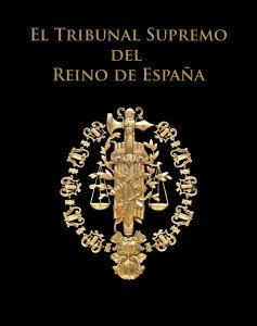 El ojo que todo lo ve en el escudo del Tribunal Supremo de España, tal como figura en la portada del libro oficial del alto tribunal.