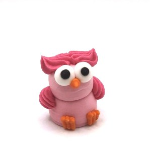 CHOUETTE 3D – en sucre pour décor – couleur rose – sugar owl for decoration
