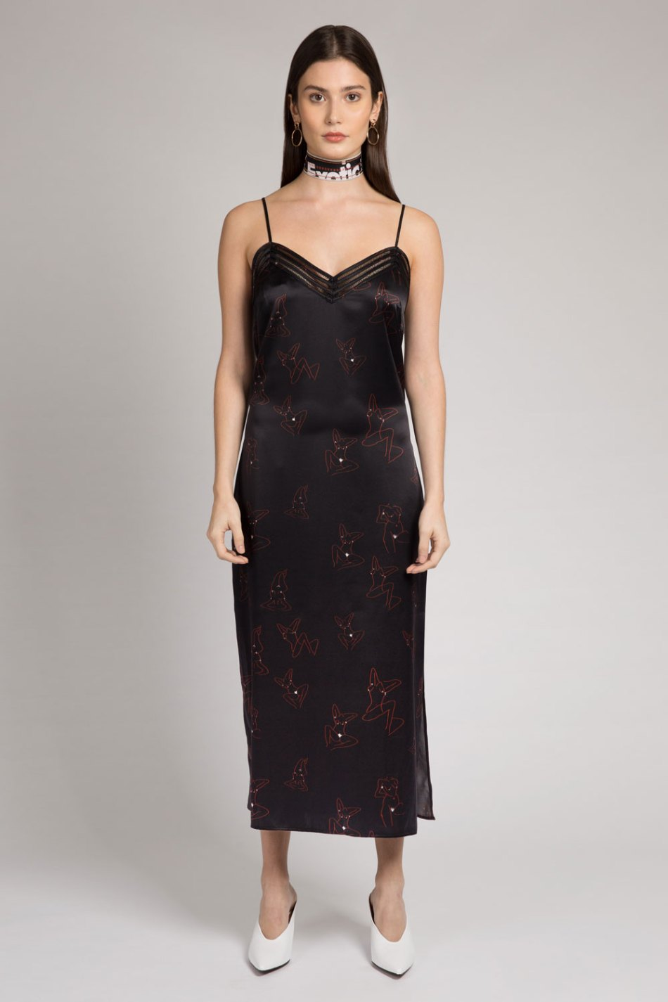 Black silk slip dress printed with a red artistic feminist print. A celebration of the female body and self love.