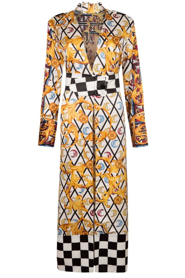 Stunning scarf print belted silk gown with winning checkered print details on the hem and belt. Make an ever lasting impression.