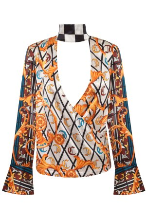 Winning Ornate Scarf Print Blouse, with empowering checkered flag neck detail. Winning is a state of mind.