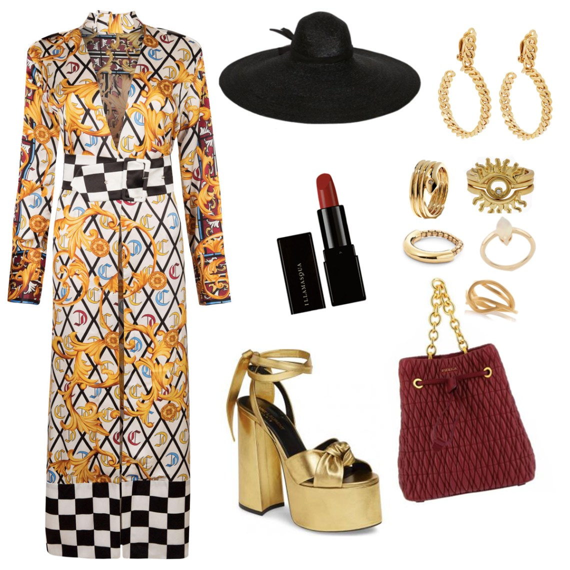 Make an entrance with this outfit idea for the Eve Silk Gown. More gold, with eye catching hoops, a ring for every finger and gold chunky platforms.