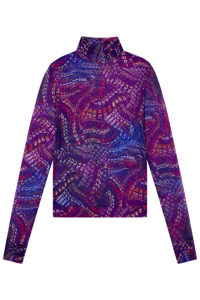 Purple swirl print mesh top with high neck