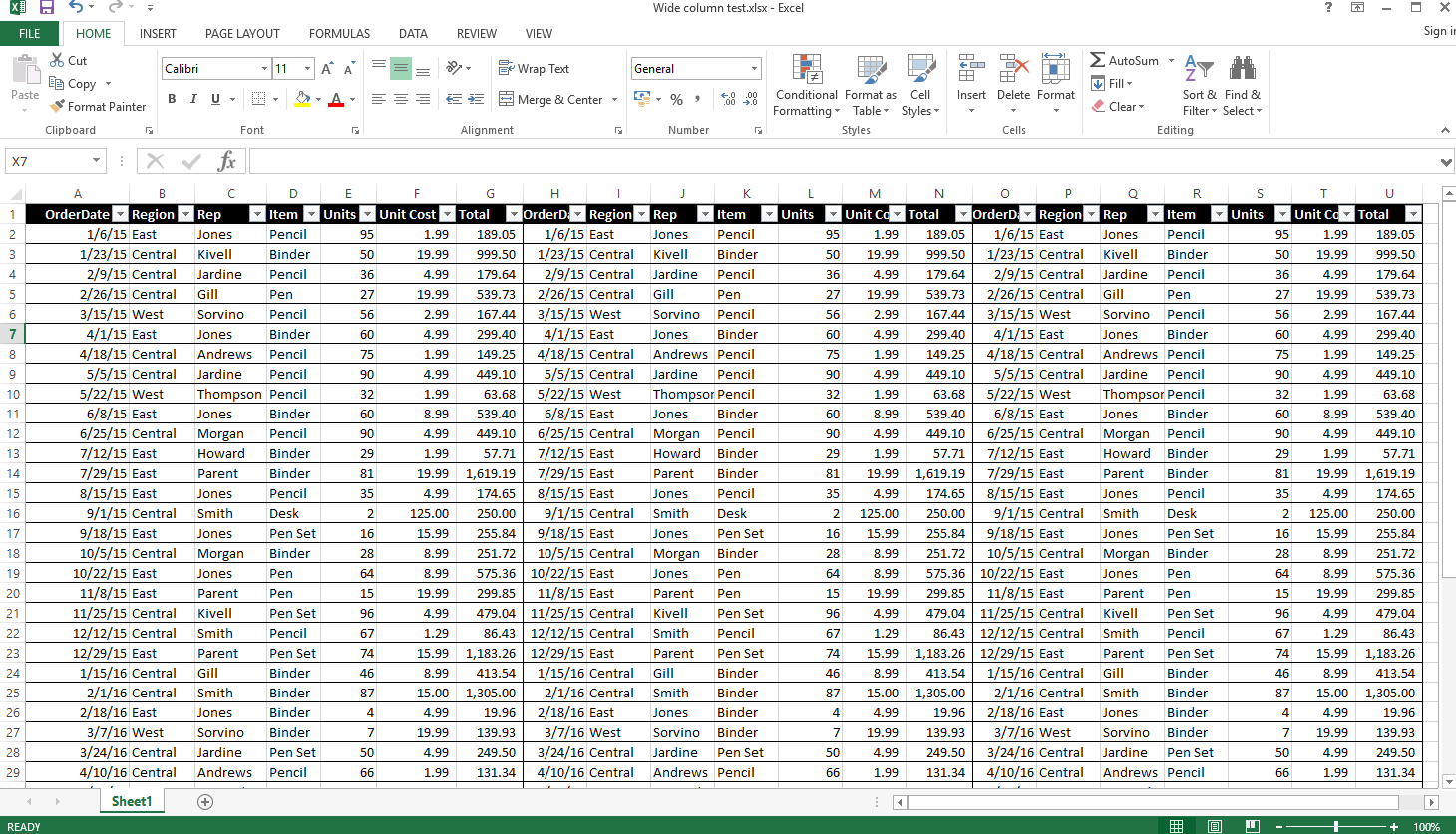 How Do I Ensure Excel File With Wide Columns Does Not Get
