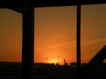 The sunset outside Lisbon airport