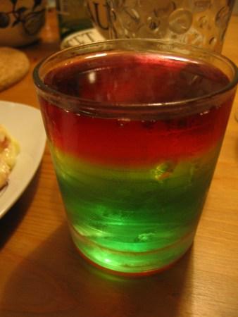 Tri-coloured jelly
