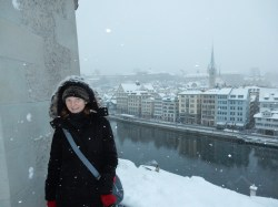 Me resembling an Eskimo, with Zurich in the background