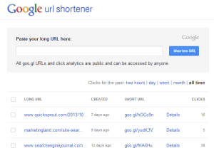 Google URL Shortener goo.gl