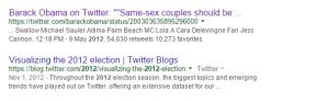Barack Obama Tweet in Google Search