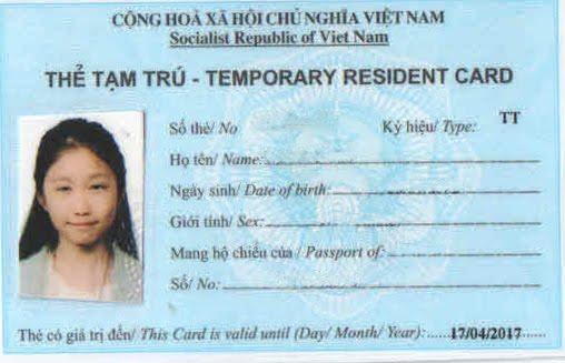 Dịch vụ làm thẻ tạm trú cho người nước ngoài tại Tp hcm