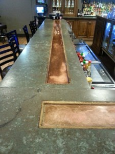 Speaking of inventions, this guy also had a special countertop made for the bar in the restaurant. He hated that his beer would get warm while it sat in front of him so he  installed a copper trough that has a chiller running underneath it.