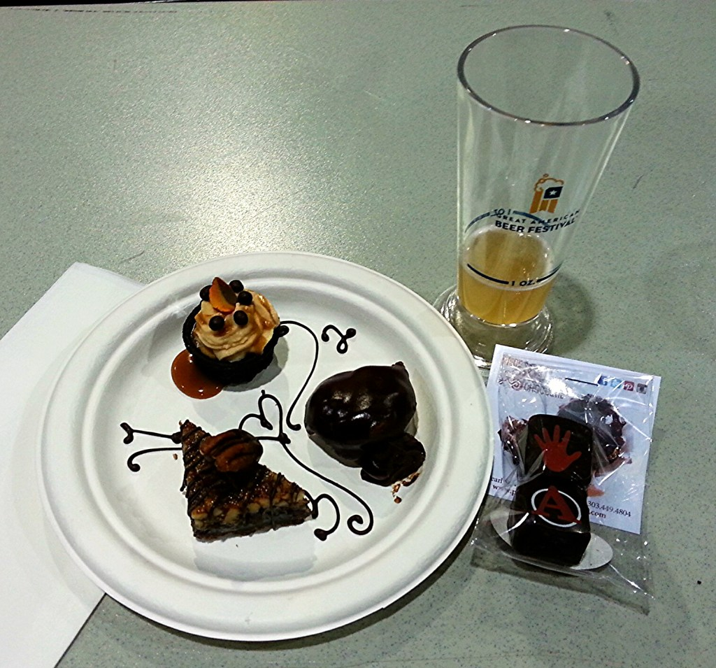 The beer and chocolate pairing was amazing. Look closely at the plate and your will see they piped the order of tastes in chocolate icing. First was a pumpkin mousse in a chocolate shell with caramel drizzled over over top. Second taste was a milk chocolate-filled creme puff with launch icing. Third course was pecan