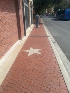 My Bob walking on the walk. Texas Stars are seen everywhere.