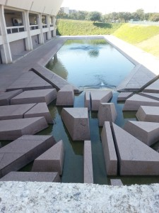 Water feature at entrance.