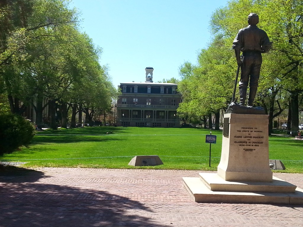 """It anyone notices a resemblance to the University of Virginia, you would be correct.  White designed the quad at UNR to replicate """"The Lawn"""", UVA's beloved campus centerpiece."""