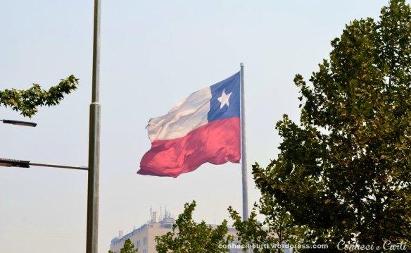 Bandeira chilena da Plaza de la Ciudadania.