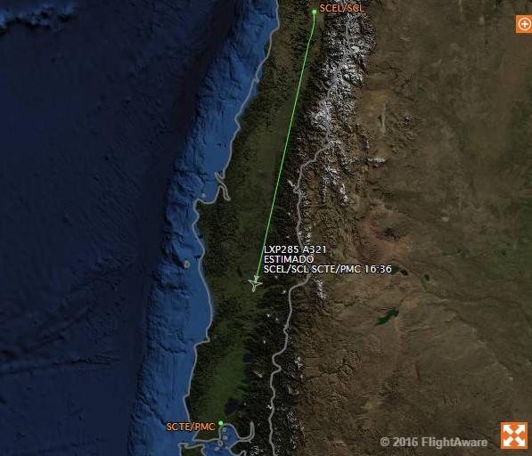 Rota dos aviões Santiago a Puerto Montt, Chile