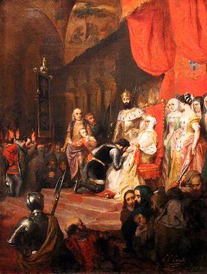 A Coroação de Inês de Castro em 1361 (c. 1849), por Pierre-Charles Comte. Wikipédia