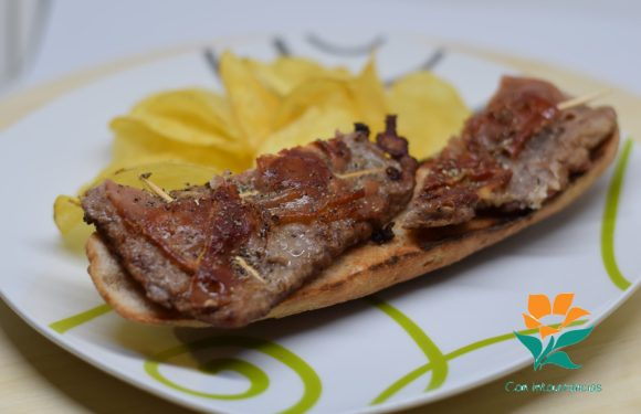 Saltimboca en tosta de pan sin gluten