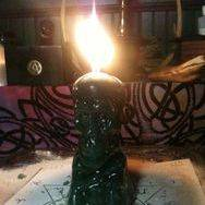 Financial Wisdom Spell, skull candle, green, Conjure Work