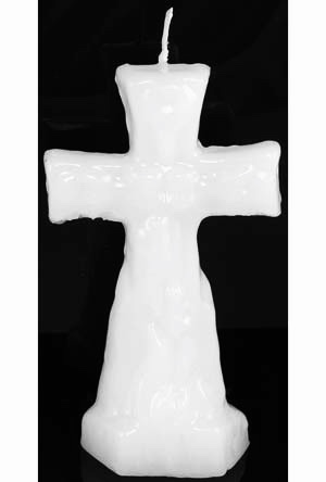 Cross Candles, white, candles in the shop at Conjure Work