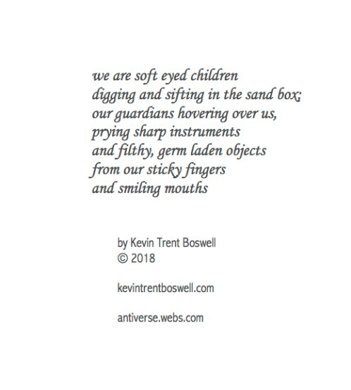 "from ""Liber Ex Liberi"", The Poetry of Magus (Kevin Trent Boswell), owner of Conjure Work, singer, guitarist of Magus & The Plastic Infinity"